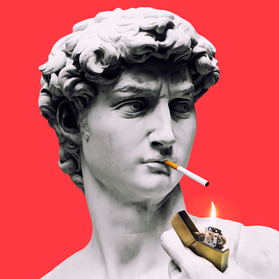 Photo collage of a statue with a cigarette
